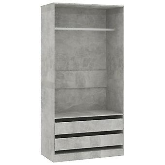 vidaXL armoire en béton gris 100×50×200 cm panneau de particules