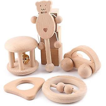 FengChun Baby Rassel aus Holz 5 Stcke Musik Spielzeug Shaker Spielzeug mit Holzgriff Rassel Glckchen