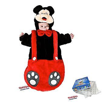 Baby plysj sovepose 88378 fra fødsel mus kostyme med hette borrelås