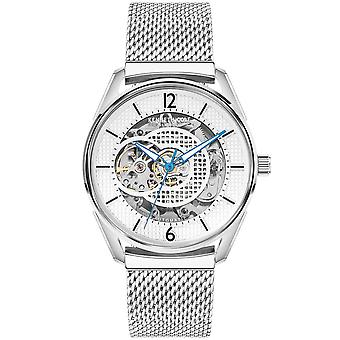 Kenneth Cole Kc50205001b Automatique Blanc & Argent Stainless Steel Mesh Strap Mens Watch