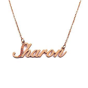 Kigu Sharon - Anpassningsbart namn halsband med kubiska zirkoner, rosenguld pläterad, anpassningsbar
