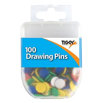 Tiger Stationery Essential Flat Drawing Pins (Pack of 100)