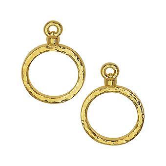 Pendente Hammertone stitch-around, cerchio 15mm, 2 pezzi, oro brillante, di TierraCast
