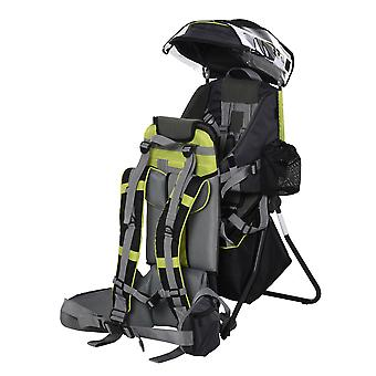HOMCOM Baby Hiking Backpack Carrier Child Carrier with Ergonomic Hip Seat Detachable Rain Cover Adjustable Straps Stand for Toddler 6 - 36 Months Green