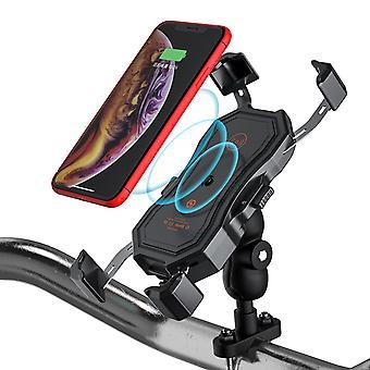 2 في 1 دراجة نارية جبل 10w تشي اللاسلكية usb حامل الهاتف شاحن سريع cai154