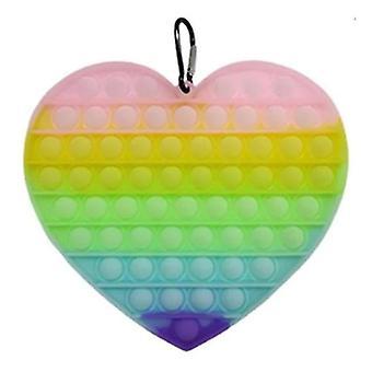 Stuff Certified® Luminous XL Pop It - 200mm Glow in the Dark Extra Large Fidget Anti Stress Toy Bubble Toy Silicone Heart Rainbow