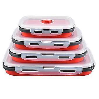 4 יח' של קופסת ארוחת צהריים מקופלת סיליקון מרובעת, קופסת אחסון למקרר, קופסת בנטו (אדום)