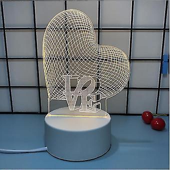 Creative 3d Night Light, Three Light Colors, Romantic Confession Girl Gift Valentine's Day