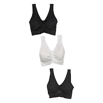 Rhonda Shear SzL One Size3-pack Seamless W / Pads amovibles Black Bra Set 720772