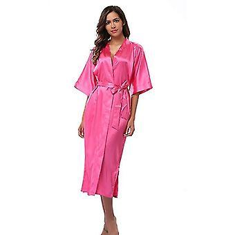 Robes silk satin long robe kimono feminino bathrobe peignoir