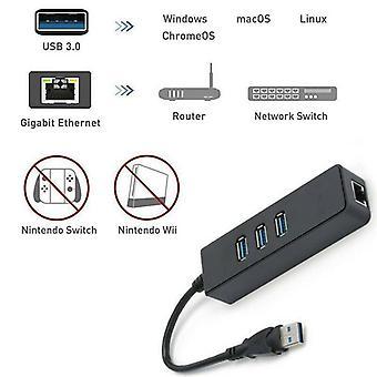 3 Port USB 3.0 Gigabit Ethernet Multi HUB Splitter Network Adapter 1000Mbps PC