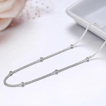 Slim Thin Pure Sterling Beads Curb Chain Choker Necklaces, Women Jewelry(60cm)