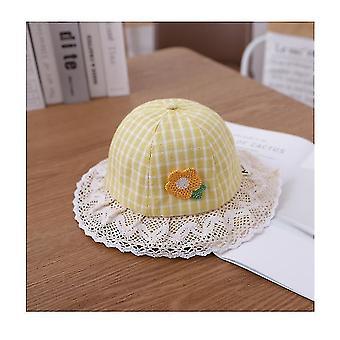 Urocze baby girls floppy hat kwiatowy haftowane hollow szeroki brzeg spf 50 + kapelusz (żółty)