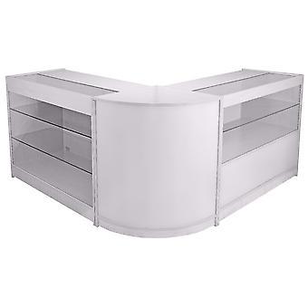 Winkel counters retail briljante witte planken opslag vitrinekast showcase glas