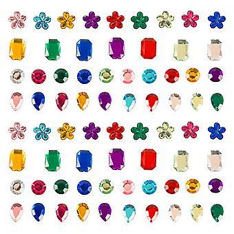 Self-adhesive Rhinestone Sticker, 400 Pcs Colour Acrylic Rhinestone Crystal Gem For Diy Craft Decorate 4 Style
