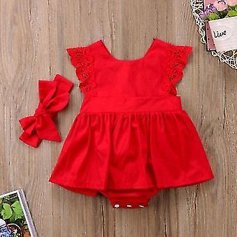 Rüschen Rote Spitze Strampler Kleid Baby Prinzessin Baumwolle Kleider
