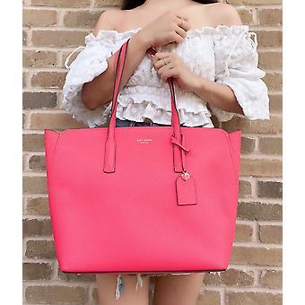 Kate spade margaux grande top zip tote bolsa de couro pêssego melba rosa