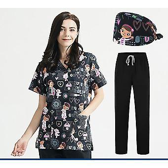 Tøj Scrubs Toppe Unisex Print Pet Grooming Institutioner Uniform