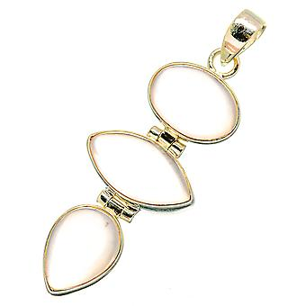 "Rose Quartz Pendant 1 3/4"" (925 Sterling Silver)  - Handmade Boho Vintage Jewelry PD10677"