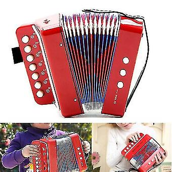Accordions concertinas accordion 7-key 3 bass educational kids beginner practice mini music instrument band toy red