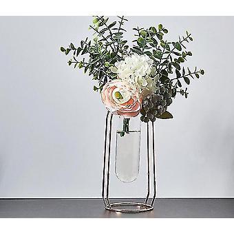 Nordisk stil guldpläterade miljövänliga metalldekorvaser med blommor (Rose Gold 24cm12)