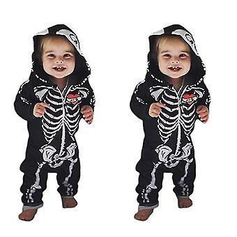 Skull Long-sleeved One-piece Halloween Hooded Baby Romper