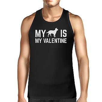 Meu cão meu Valentine Mens Black Top tanque bonito gráfico para proprietários do cão
