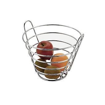 Seau en métal chromé en forme de panier de fruits debout