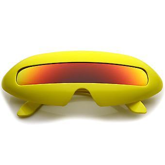 Futuristische kostuum Single schild gekleurde spiegel Lens nieuwigheid Wrap zonnebril 70mm