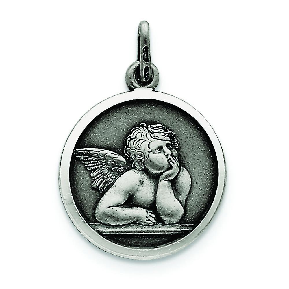925 Sterling Silver Satin Finish Angel Charm Pendant