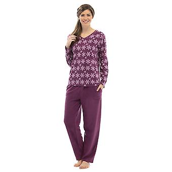 Ladies Tom Franks Snowflake Print Winter Long Fleece Pyjama pajama Sleepwear