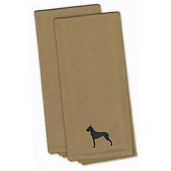 Great Dane Tan Embroidered Kitchen Towel Set of 2