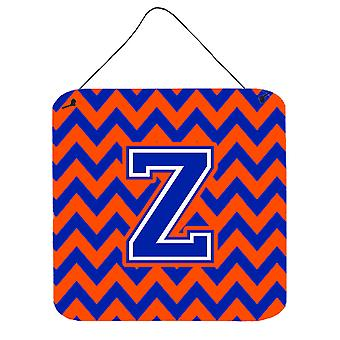 Letter Z Chevron Orange and Blue Wall or Door Hanging Prints
