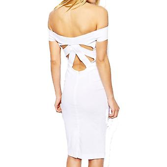 ASOS Petite Exclusive Bardot Pencil Dress with Strappy Back DR905-White-4