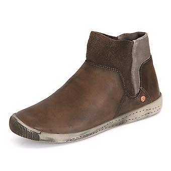 Softinos Ime Koffie Gewassen Leer IME335S0F universele winter dames schoenen