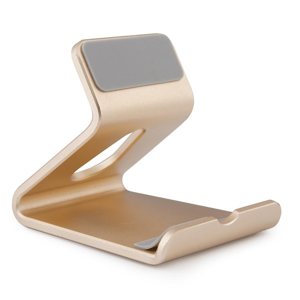 Universal Aluminum Alloy Phone Holder Stand - Compatible with iPhone and Android Smartphones - Desktop Mount Mobile Phone Portable Cradle - Gold