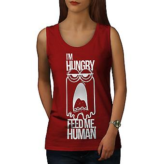 Feed Me Human Joke Women RedTank Top | Wellcoda