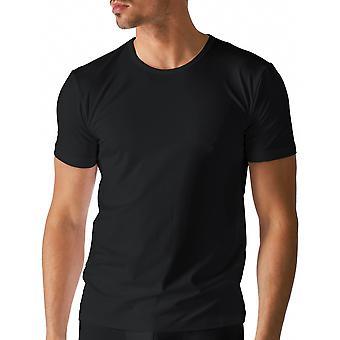 Algodão seco cor preta sólida Top de manga curta Mey 46102-123 masculino