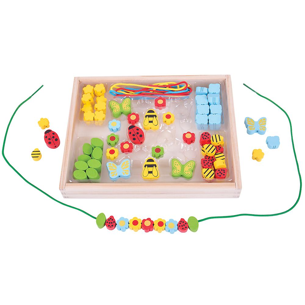 Bigjigs Toys Colourful Wooden Garden Bead Box Lacing Arts Crafts Child Creative