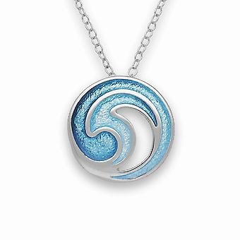 Sterling Silver Traditional Scottish New Dawn Marine Enamel Hand Crafted Necklace Pendant
