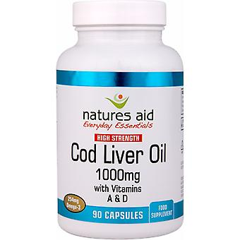 Natures Aid Cod Liver Oil (High Strength) 1000mg (With Vitamin A, D, E), 90 Capsules