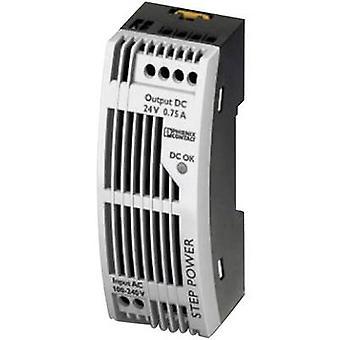 Phoenix Contact STEP-PS/1AC/24DC/0.75/FL Rail mounted PSU (DIN) 24 V DC 0.83 A 18 W 1 x