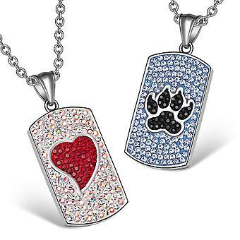 Coeur Wolf patte autrichienne Crystal Love Couples meilleurs amis Dogtag rouge blanc noirs bleus colliers