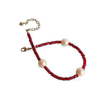 Ruby bracelet with beads Ruby pearl bracelet gold plated