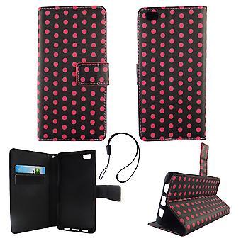 Cell phone cover case voor mobiele Huawei P8 Lite polka dot zwart roze