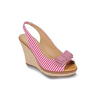 Ladies Peep Toe Striped Espadrille Bow Accent Women's Shoes Casual Wedges