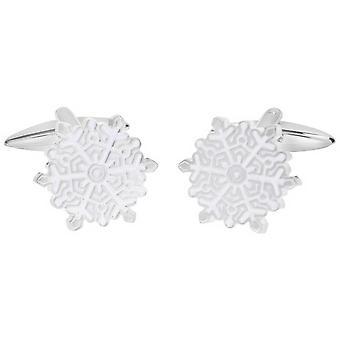 Zennor Snowflake manschettknappar - vit/Silver