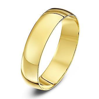 Stjärniga bröllop ringar 9ct gult guld ljus D form 5mm vigselring