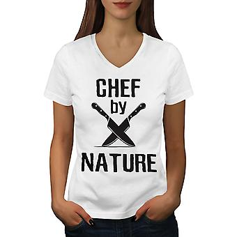 Chef By Nature Women WhiteV-Neck T-shirt | Wellcoda