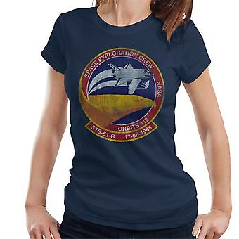 NASA STS 51 G Discovery Mission Badge Distressed Women's T-Shirt
